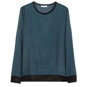 Helmut Lang Long Sleeve 100% Silk Top, Size S